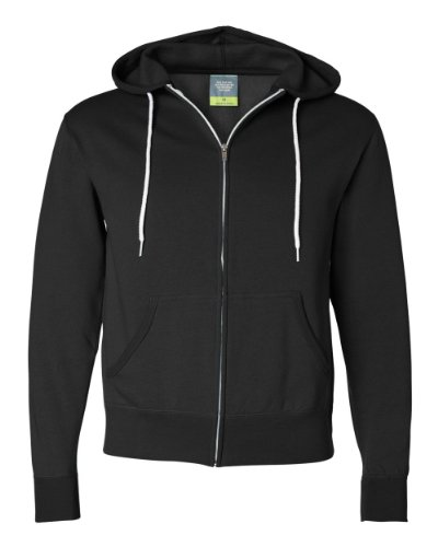 Independent Trading Co Unisex Full Zip Hooded Sweatshirt. AFX90UNZ - Large - Black