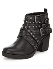 Limited Edition Studded Strappy Biker Boots with Insolia®