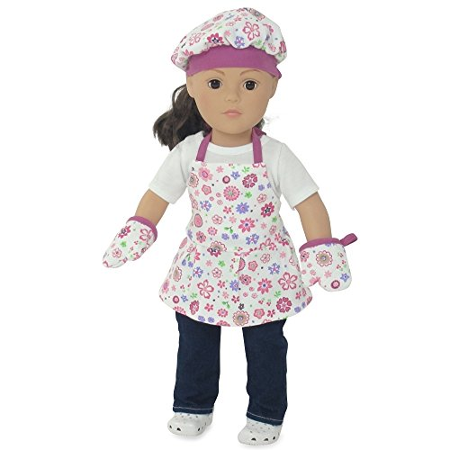 Fits 18 american girl dolls pink floral baking outfit for Garden tools for 18 inch doll