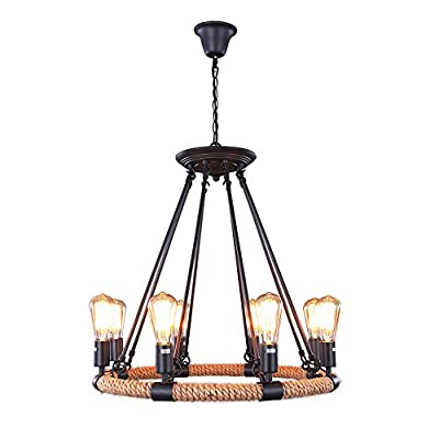 LNC Vintage 8 Light Metal Hemp Rope Pendant Lights Fixture Matte Black Chandelier