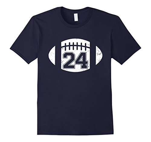 [Men's American Football Player Number  24 Distressed T Shirt Medium Navy] (Male Football Player Costume)