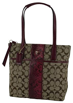 Coach F25706 Signature Print Women's Tote Handbag Purse