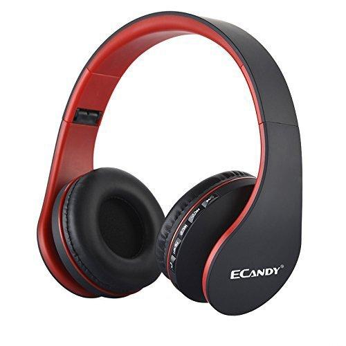 Ecandy ワイヤレス ステレオBluetooth3.0+ EDRヘッドセット マイク付MP3プレーヤー/MicroSD / TF 音楽 /FMラジオ 4in1 多機能 (黒赤) LH-811