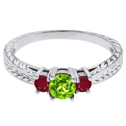 0.58 Ct Round Green Peridot Red Ruby 14K White Gold 3-Stone Ring