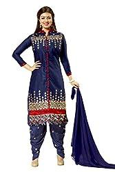 Meghali Women's Cotton Unstitched Salwar Suit (MGBD14D01_Blue_Free Size)