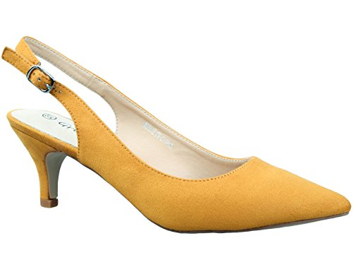 Greatonu Womens Yellow Office Wedding Leather Insole Pointy Toe Slingback Pump Size 9