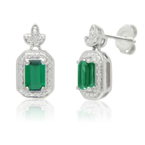 Sterling Silver Created Emerald and White Diamond Stud Earrings
