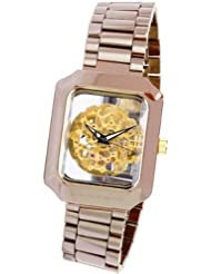 ANDROID MYSTIQUE CERAMIC SKELETON AUTOMATIC WATCH BROWN CASE W/GOLD TONE MOVEMENT - AD395ABNGX