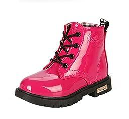 Maxu Fashion Girls Boys Rose PU Waterproof Child Martin Boots,Toddler,7M US