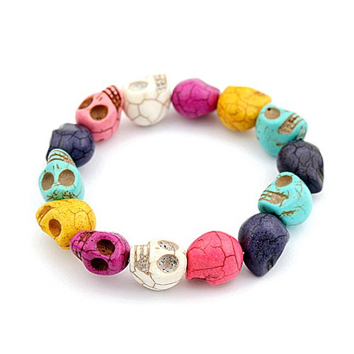 Easyfashion Turquoise Rock Design Cool Skull