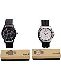 Combo Pack Of Black Dial Chronograph YuniiQ Watch With Black Color Formal Watch.