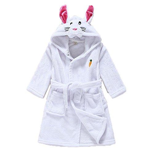 Baby Kids Hooded Bathrobe Children's Pajamas Boys Girls Flannel Sleepwear White Rabbit,2t(1-2 years)