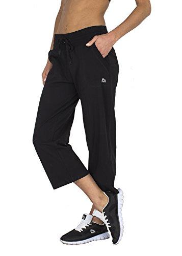 RBX Active Women's Relaxed Fit Cotton Capri Pant w/ Dual Pockets,Black,Medium