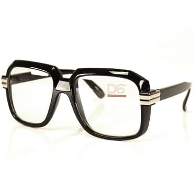 Old School Vintage Squared Clear Lens Eyeglasses (Black)