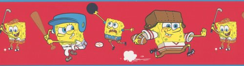 Brewster 147B00980 Nickelodeon SpongeBob Sports Red Wall Border - 1