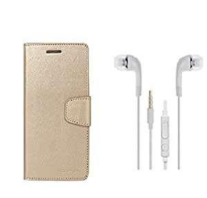ZYNK CASE FLIP COVER GOLD WITH HEADPHONE WHITE FOR HUAWEI HONOR HOLLY 3
