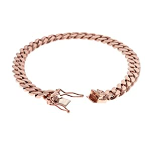 14KT Pink Curb Link 7.7mm Necklace BOX-WITH-TONGUE-AND-SAFETY-Clasp 20 inches