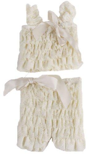 Andi Rose Baby Girl Lace Posh Petti Ruffle Rompers Dancewear Set With Strap (Size-S, White)
