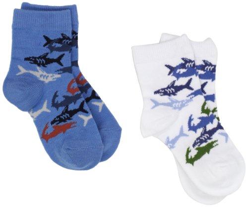 Country Kids Baby Boys' Shark 2 Pair Socks, White/Blue, 12 24 Months