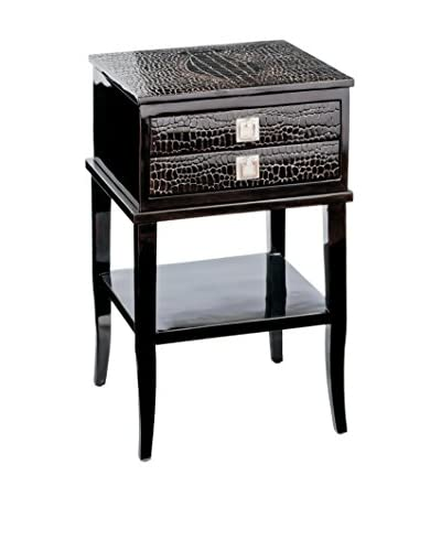 Home Philosophy Tortoise Croc Bedside Table, Dark Brown Lacquer