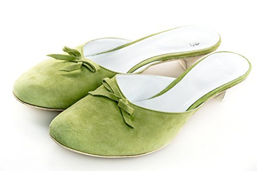 Scarpe donna FRU.IT N.40 verde sandalo punta tonda camoscio made in italy X2476