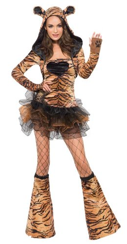 Fever Tiger Costume, Brown/Back, X-Small
