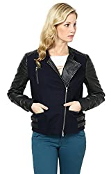 Genuine Leather Black Leather And Woolen Biker Jacket (Large)