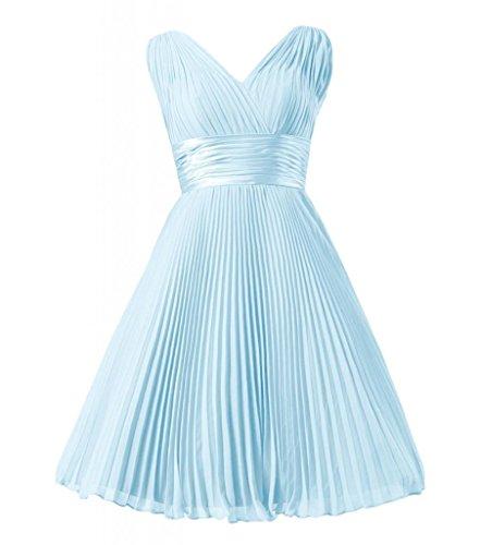 Daisyformals Vintage Short Chiffon Bridesmaid Dress Party Dress(Bm3171)- Ice Blue