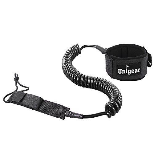 Premium 10' SUP Leash, Paddle Leash Coiled Swivel Ankle Cuff for Standup Paddle Boarding and Surfboarding Surfing (Black) (Carbon Fiber Canoe Paddle compare prices)