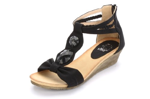 Alexis Leroy Women Artificial Diamond T-Straps Wedge Heel Sandal Black Size 9 front-40028