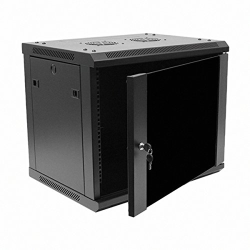 Navepoint 9U Deluxe IT Wallmount Cabinet Enclosure 19-Inch Server Network Rack With Locking Glass Door 16-Inches Deep Black (Rack Cabinet compare prices)