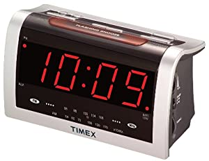 timex t256s3 am fm clock radio with extra large time display silver electronics. Black Bedroom Furniture Sets. Home Design Ideas
