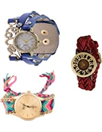 COSMIC COMBO WATCH- BROWN DESIGNER STRAP ANALOG WATCH WITH BLUE CUTE LOVE PENDENT ANALOG WATCH AND MULTICOLOUR...