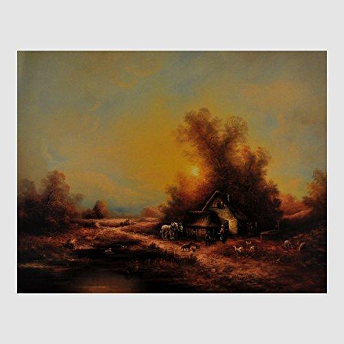 Kunstdruck idyllische Landschaft Bauernhaus Pferd Hühner Hunde im Morgengrauen am Waldrand gemalt 40 x 50 cm, Poster, Bild, Cliprahmen optional, hier ohne Rahmen