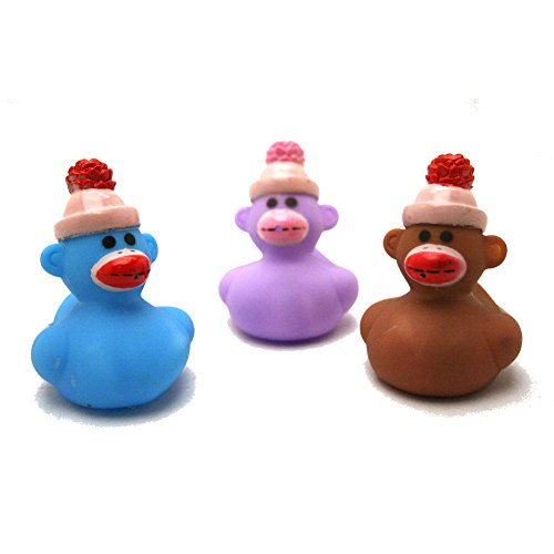 Fun Express Sock Monkey Rubber Ducks (12 Piece)