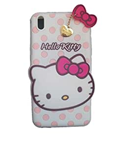 Coversncases Fashion Designer Polka Dot Hello Kitty 3D Soft Silicon Rubber Gel Back Cover Case For HTC Desire 816- White
