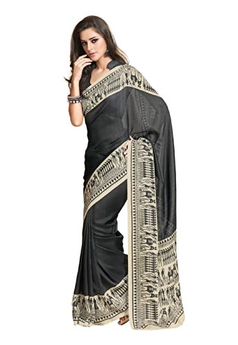 Fabdeal Indian Wear Black Jute Silk Printed Saree-QWJSR410BRM