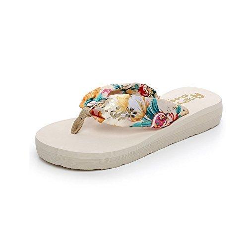 Desen Women's Floral Summer Satin Flip Flop White 9 B(M) US