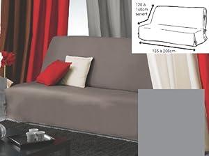 Douceur d'Intérieur 1603866 Panama Housse Clic Clac Nouettes Polycoton Gris 185 x 200 cm