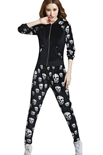 Pink Queen® Women's Velvet Skull Skeleton Print Tracksuit Sportwear Black