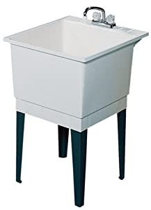 Swanstone PT-1-010 22-Inch by 25-Inch Floor-Standing Single Laundry Tub, White Finish