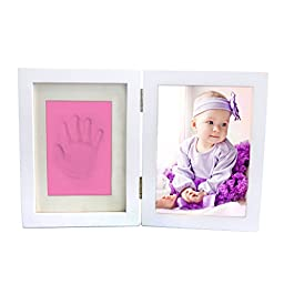 Clay Baby Handprint & Footprint Desktop Picture Frame, Newborn Baby First Handprint Footprint Clean Touch Safe Clay, Unique Gift Idea And Keepsake for Registry By Colourful Life Pink