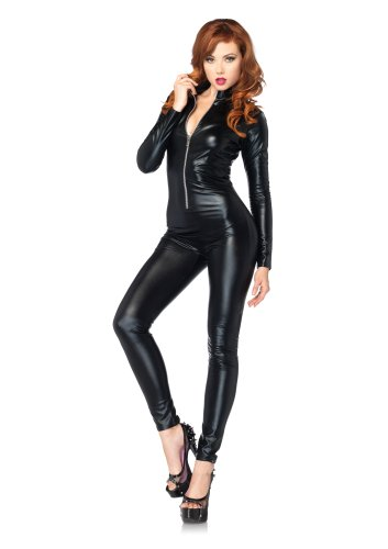 Leg Avenue Costumes Wet Look Zipper Front Cat Suit