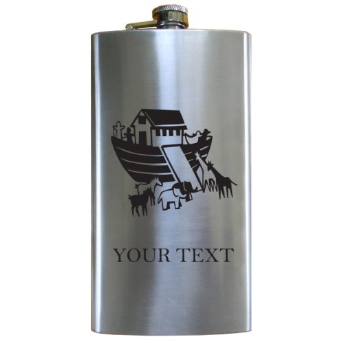 Personalized Engraved Noah'S Ark 12 Oz Stainless Steel Pocket Hip Drinking Flask For Men And Women Perfect Customizable Holiday Gift Or 21St Birthday Present! Contact Seller For Text Personalization Or Leave A Gift Message At Checkout! front-22445