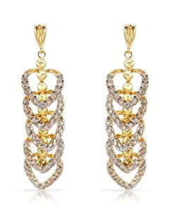 Genuine Morne Rouge (TM) Earrings. 0.85 Ctw I1-I2 Color J-K Diamonds 14K Gold Earrings. 7.2 Grams in Weight and 43 mm in Length. 100% Satisfaction Guaranteed.
