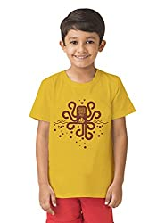 Mintees 100% Combed Cotton Boy's Graphic Print Golden Yellow Colour Tshirt MBRNT-02-032_10-11Yrs