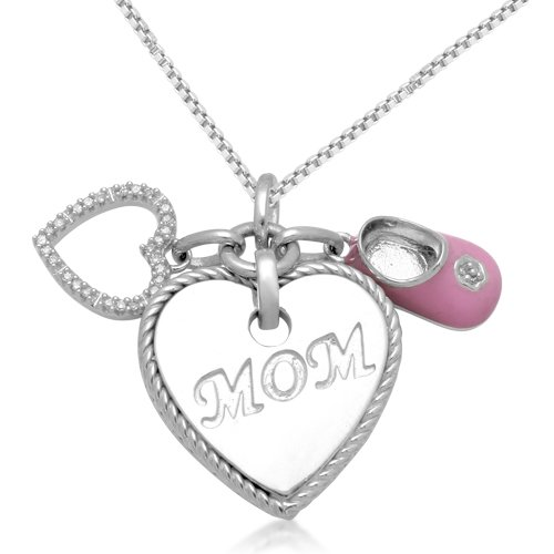 Sterling Silver Enamel &#8220;MOM&#8221; Heart &#038; Baby Shoe Diamond Charm Pendant (0.05 cttw, I-J Color, I3 Clarity), 18&#8243;