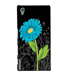 Omnam Blue Flower With Black Base Printed Designer Back Cover Case For Sony Xperia Z5