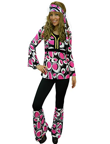 You'll really get noticed in this groovy 60s Style Hippy Fancy Dress Costume for Women. Seven sizes from 6 to 18.