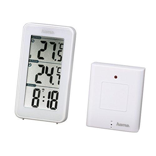 Hama-Funk-Wetterstation-EWS-152-Funkuhr-und-Thermometer-inkl-Auensensor-mit-50m-Reichweite-wei